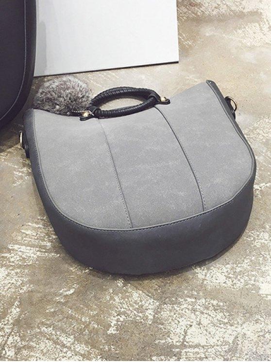 Pompon Metal PU Leather Tote Bag -   Mobile