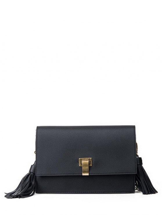 fashion Chain Tassels Metal Crossbody Bag - BLACK