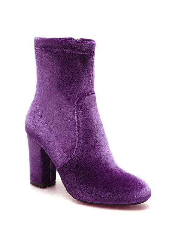 Chunky Heel Velvet Sock Boots - PURPLE 38 Mobile