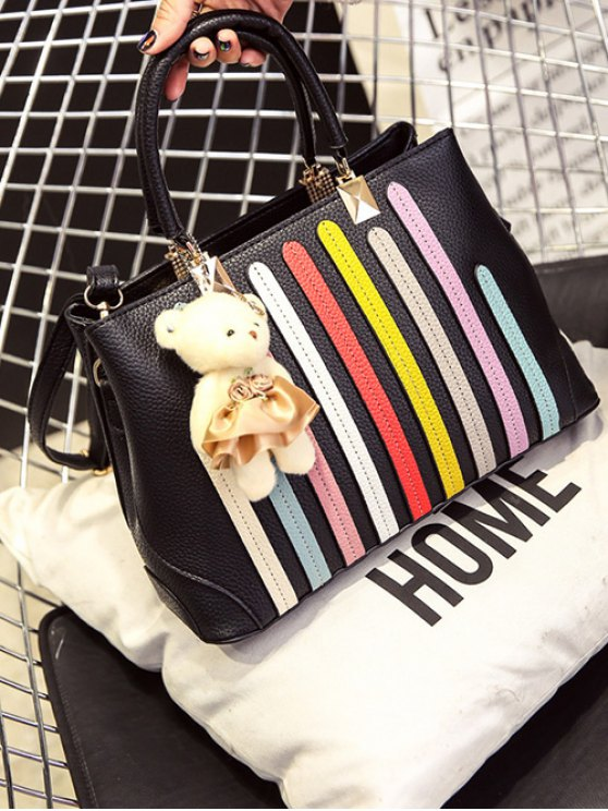 Striped Pattern Metal Colour Spliced Tote Bag - BLACK  Mobile