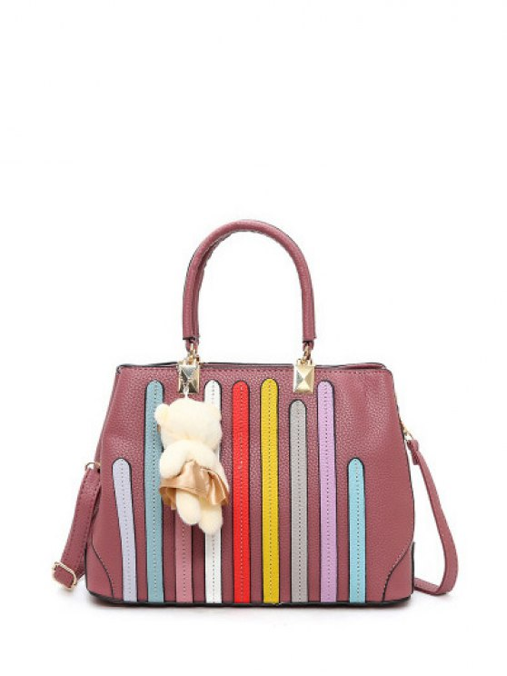 Striped Pattern Metal Colour Spliced Tote Bag - PINK  Mobile