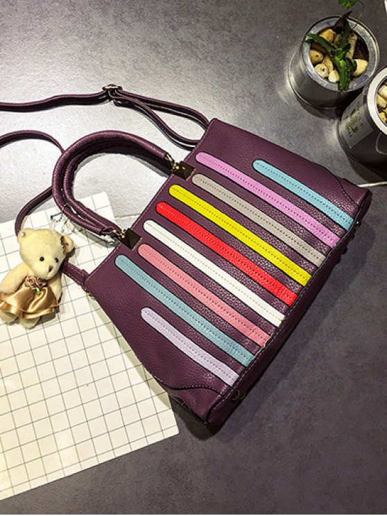 Striped Pattern Metal Colour Spliced Tote Bag - RUSSET-RED  Mobile