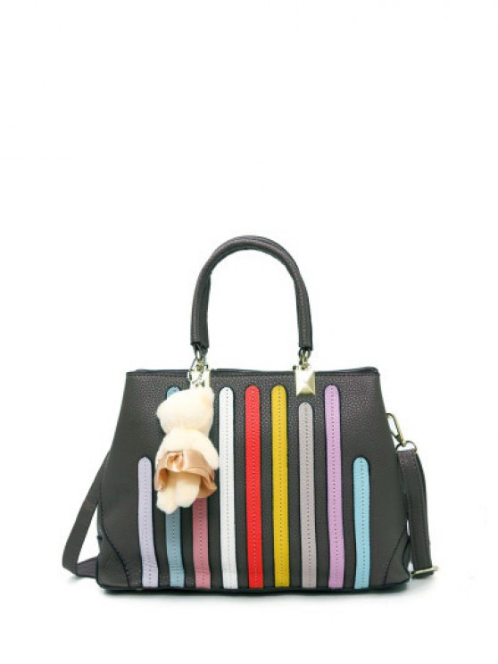 Striped Pattern Metal Colour Spliced Tote Bag - GRAY  Mobile