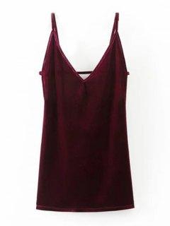 Bodycon Velvet Slip Short Dress - Wine Red S