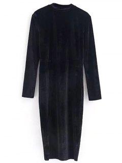 Vintage Velvet Slit Dress - Black S
