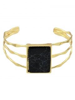Layered Natural Stone Geometric Cuff Bracelet - Black