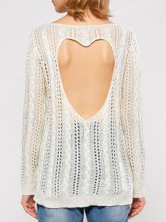 Heart Cutout Back Open Stitch Sweater - White M