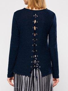 Back Lace Up Sweater - Purplish Blue Xl