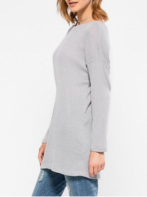 women's Skew Neck Long Sleeve Jumper - GRAY XL Mobile
