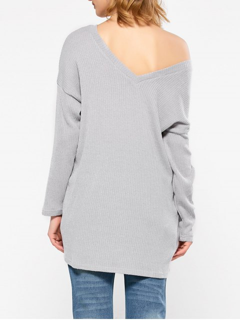 best Skew Neck Long Sleeve Jumper - GRAY S Mobile