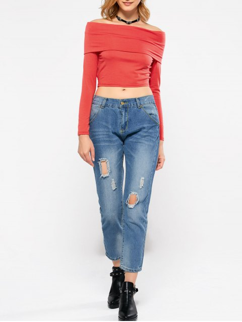 ladies Long Sleeve Off Shoulder Crop Top - RED XL Mobile