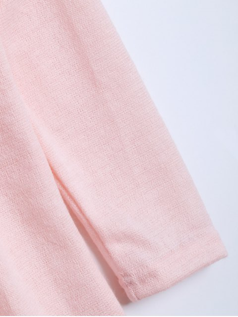 outfits V Neck Batwing Sleeve Sweater - PINK L Mobile