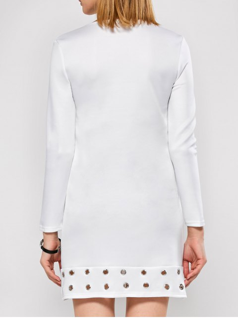 best Long Sleeve Jewel Neck Hollow Out Dress - WHITE M Mobile