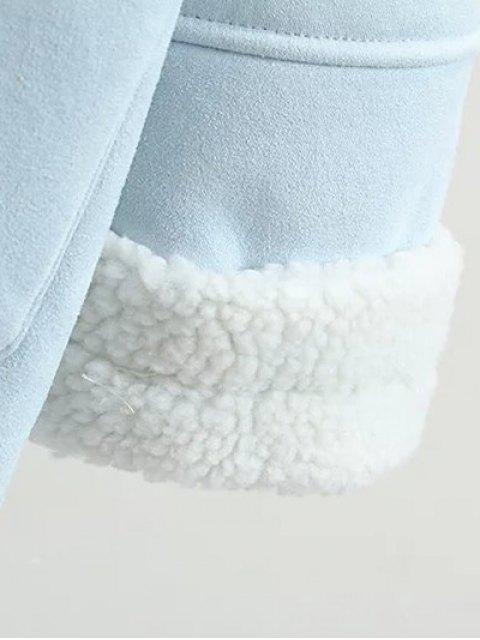hot Lapel Faux Shearling Pea Coat - PINK M Mobile