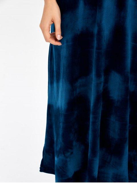 trendy Open Back Velvet Tea Length Dress - DEEP BLUE ONE SIZE Mobile