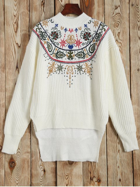 outfit Mock Neck Embroidered High Low Sweater - WHITE ONE SIZE Mobile