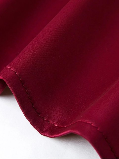 ladies Off The Shoulder Flouncing Blouse - WINE RED L Mobile