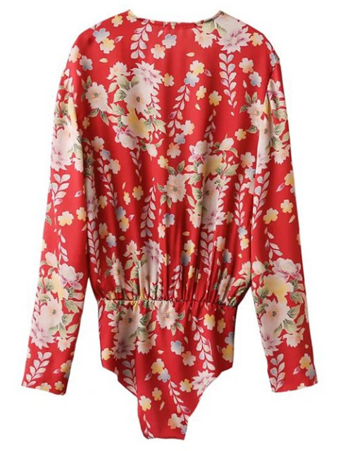 trendy Ethnic Style Floral Bodysuit - RED S Mobile