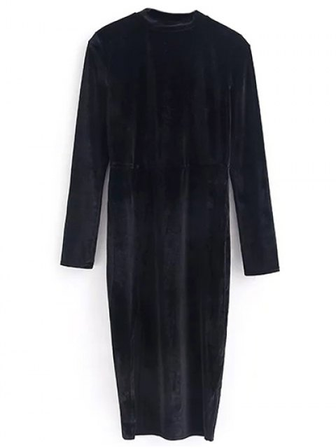 women's Vintage Velvet Slit Dress - BLACK M Mobile