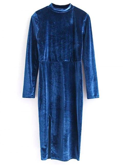 lady Vintage Velvet Slit Dress - BLUE M Mobile