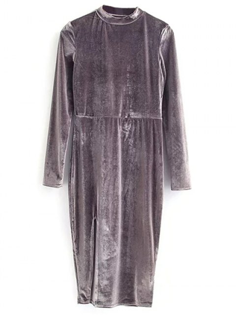 hot Vintage Velvet Slit Dress - GRAY M Mobile