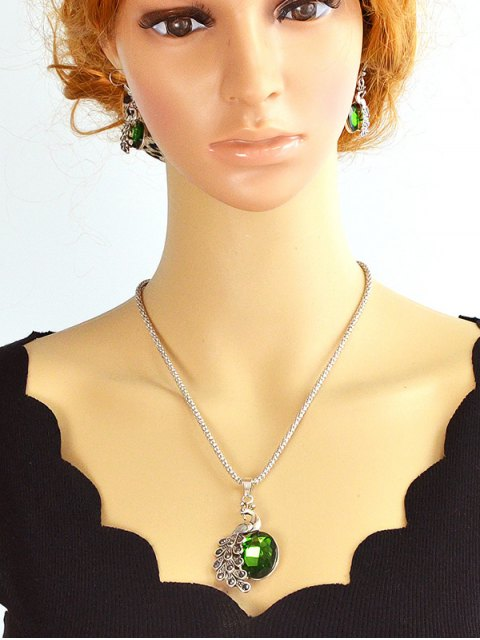 chic Faux Gem Peacock Necklace and Earrings - GREEN  Mobile