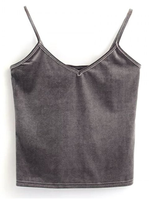 women Velvet Cropped Tank Top - GRAY ONE SIZE Mobile
