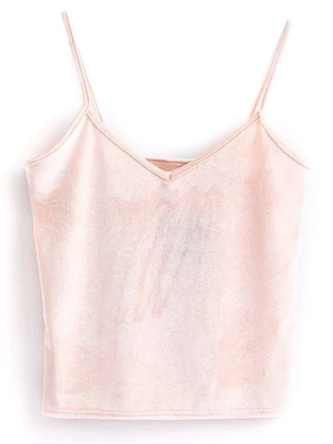 ladies Velvet Cropped Tank Top - PINK ONE SIZE Mobile