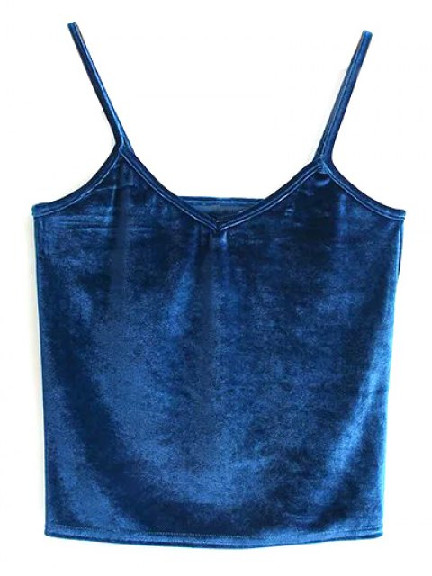 lady Velvet Cropped Tank Top - PEACOCK BLUE ONE SIZE Mobile
