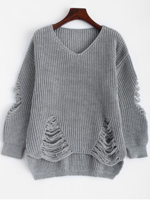 affordable Loose Pullover Distressed  Sweater - DEEP GRAY L Mobile