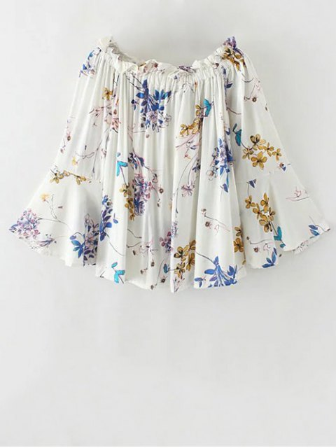 best Off The Shoulder Flare Sleeve Floral Blouse - WHITE S Mobile
