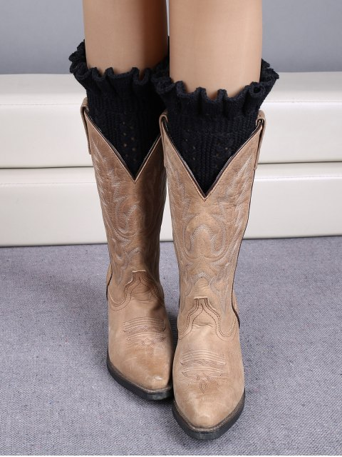 chic Ruffled Knit Boot Cuffs - BLACK  Mobile