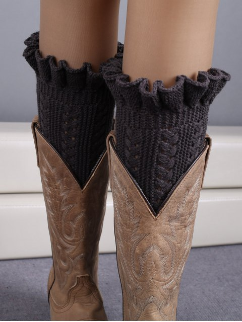 fancy Ruffled Knit Boot Cuffs -   Mobile