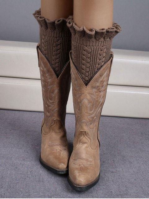 womens Ruffled Knit Boot Cuffs -   Mobile