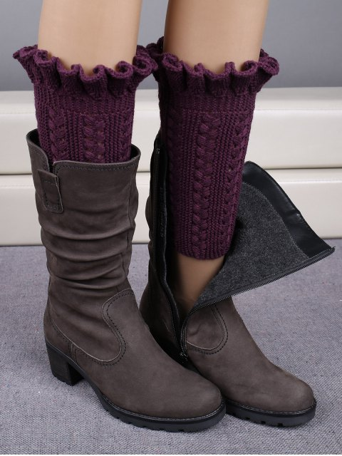 Bottes avec poignets tricotés à volants - Violet Foncé  Mobile