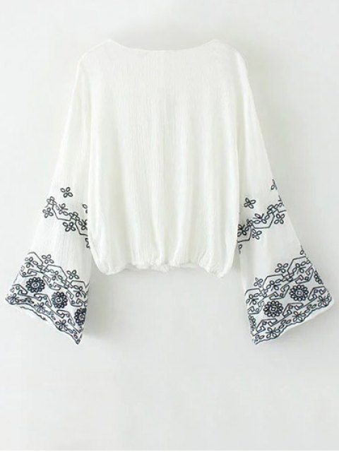outfit String Flare Sleeve Embroidered Blouse - WHITE L Mobile