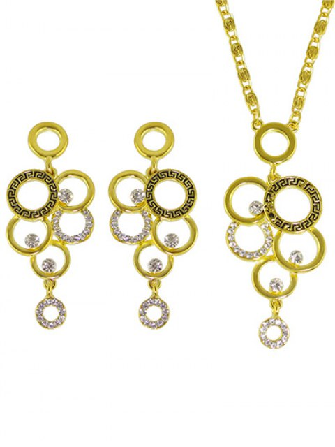 womens Rhinestoned Round Necklace and Earrings -   Mobile