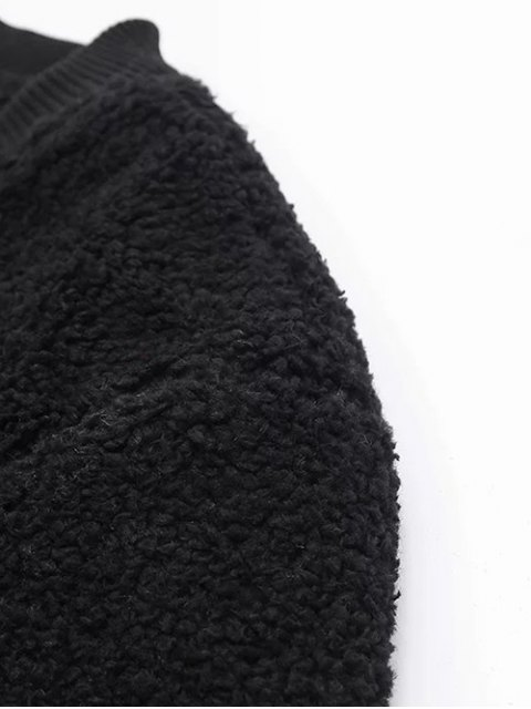 outfits Zip-Up Lamb Wool Jacket - BLACK L Mobile