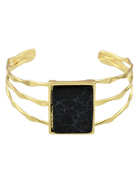 outfits Layered Natural Stone Geometric Cuff Bracelet - BLACK  Mobile