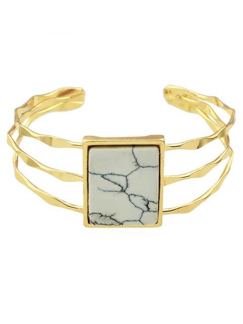 shop Layered Natural Stone Geometric Cuff Bracelet -   Mobile