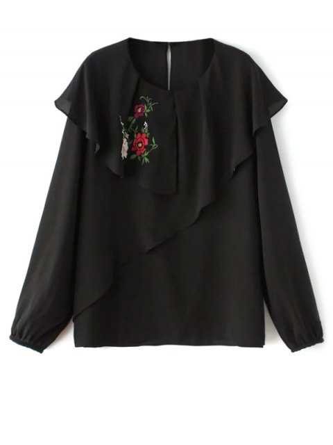 new Layered Floral Chiffon Blouse - BLACK M Mobile