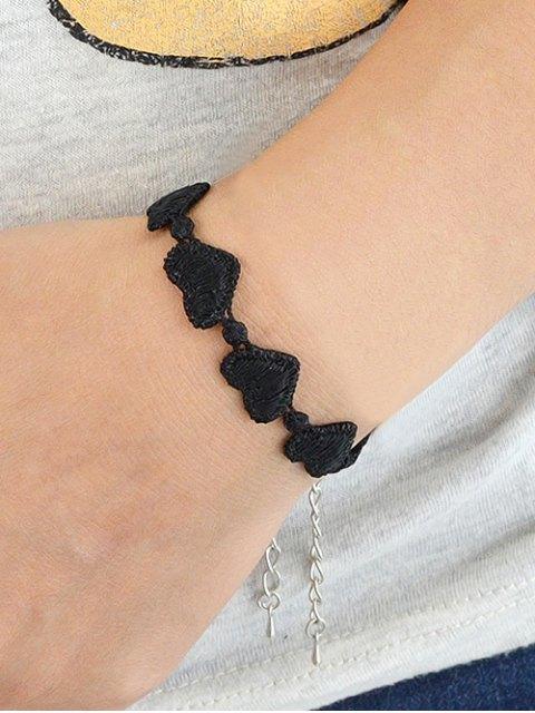 shops Heart Lace Chain Bracelet - BLACK  Mobile