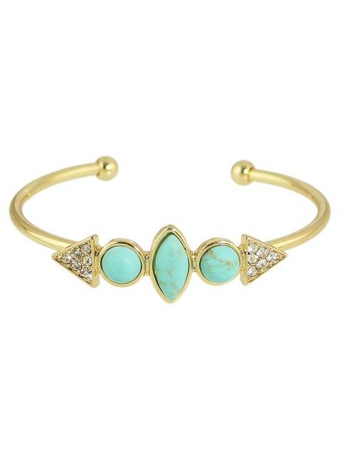trendy Faux Turquoise Rhinestone Geometric Cuff Bracelet -   Mobile