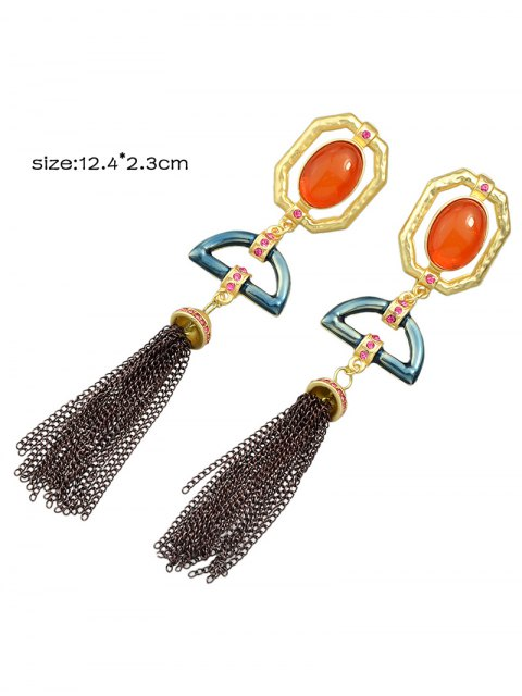 unique Artificial Gemstone Oval Tassel Chain Earrings - GOLDEN  Mobile