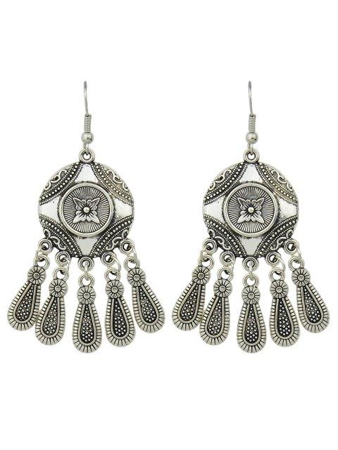 sale Engraved Flower Pattern Chandelier Earrings -   Mobile