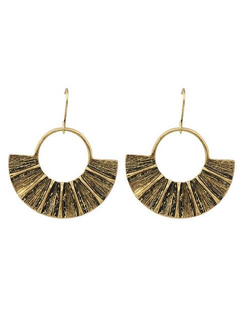 women's Circle Fan-Shaped Earrings - GOLDEN  Mobile