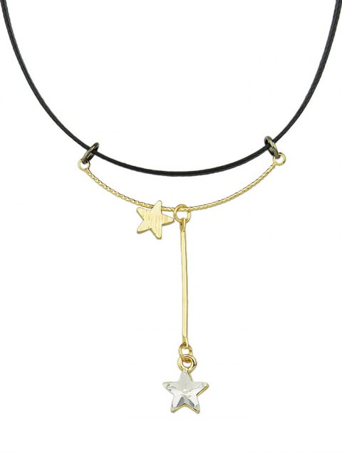 women Faux Leather Rhinestone Pentagram Necklace - WHITE  Mobile