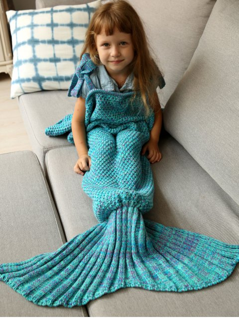 women's Sleeping Bag Knitted Mermaid Blanket - TURQUOISE  Mobile