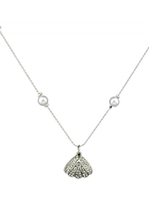 lady Rhinestoned Artificial Pearl Conch Necklace -   Mobile
