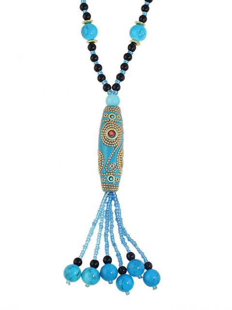 outfit Bohemian Style Beads Necklace - LIGHT BLUE  Mobile